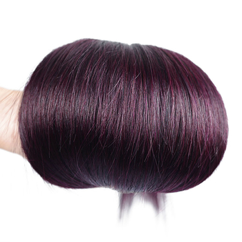 Vvwig 1B/Grape Purple Shiny Human Hair Malaysian Natural Feeling 3 Bundles With Straight Hair Closure No Chemical