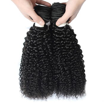 Vvwig Good Feeling Natural Black Kinky Curly Peruvian Hair 3 Bundles With Closure 4*4 Inch Lace No Chemical No Smell