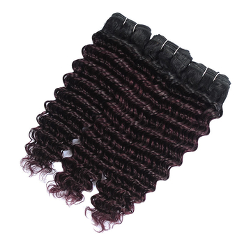 Vvwig 1B Bug Ombre Hair Indian Human Hair Deep Curly 3 Bundles With Closure Good Feeling No Tangle No Shed