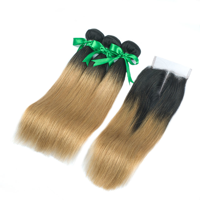 Vvwig Natural Looking 1B 27 Ombre Hair Indian Straight Hair Breathable 3 Bundles With Closure Smooth Touch