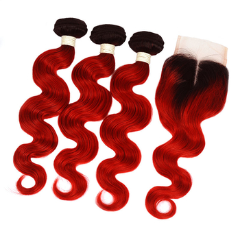 Vvwig Shiny 1B Red Ombre Hair Brazilian Good Feeling 4*4 Inch Body Wave Closure With 3 Bundles Touches Well