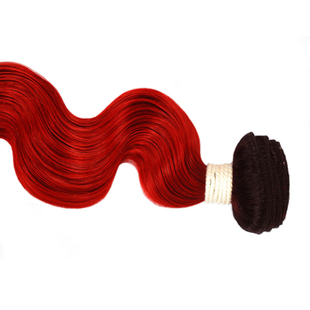 Vvwig 1B Red Ombre Hair Body Wave Bundles Super Soft Indian Human Hair 1 Bundle Full And Thick