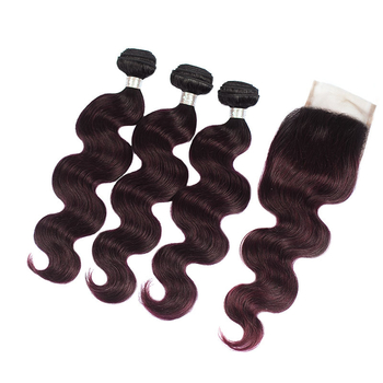 Vvwig Comfortable 1B Grape Purple Ombre Hair 3 Bundles With Closure Indian Body Wave Hair No Smell Or Shedding