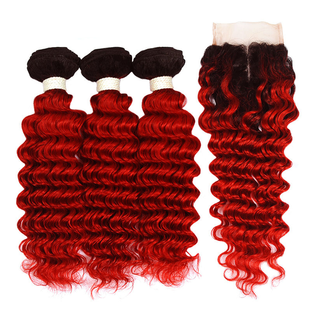 Vvwig No Smell 1B Red Ombre Hair 3 Bundles With Closure Brazilian Deep Curly Hair Natural Feeling Soft And Easy To Style