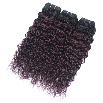 Vvwig Soft Smooth 1B Grape Purple Ombre Hair Indian Water Wave 100% Unprocessed Hair 3 Bundles With Closure