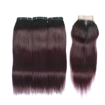 Vvwig Soft Smooth 1B Grape Purple Ombre Hair Good Feeling Brazilian Premium Straight Hair 3 Bundles With Closure
