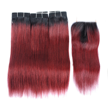 Vvwig Popular Style 1B 99j Ombre Hair Indian Straight Human Hair 3 Bundles With Closure Tangle And Shedding Free