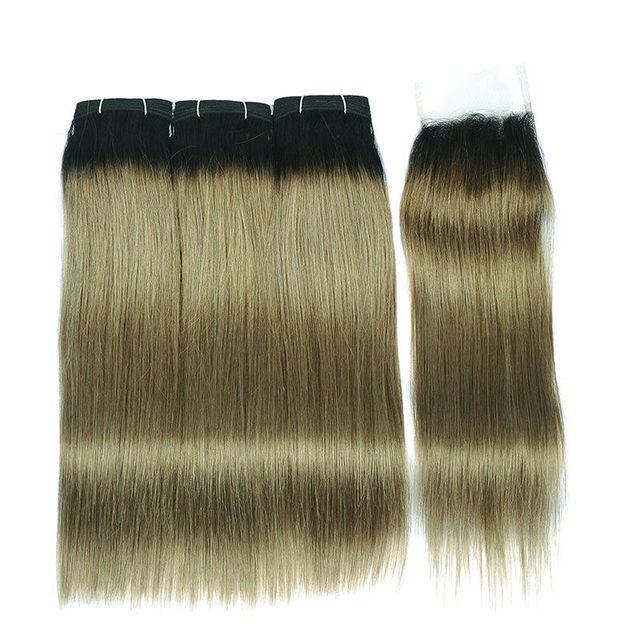 Vvwig 100 Unprocessed Hair 10A Grade Premium 1B Linen Green Ombre Hair 3 Bundles With Closure Tangle Free