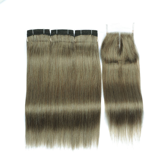 Vvwig Linen Green Straight Human Hair Weave 3 Bundles With Closure Tangle Free Shedding Free