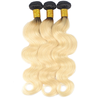 Vvwig 1B 613 Blonde Hair Ombre Color No Smell Soft Smooth Body Wave Hair 3 Bundles With Closure 4*4 Inch Lace