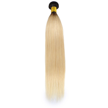 Vvwig Ombre Hair 1B 613 Blonde Hair Tangle Free Straight Human Hair Weave 3 Bundles With Closure