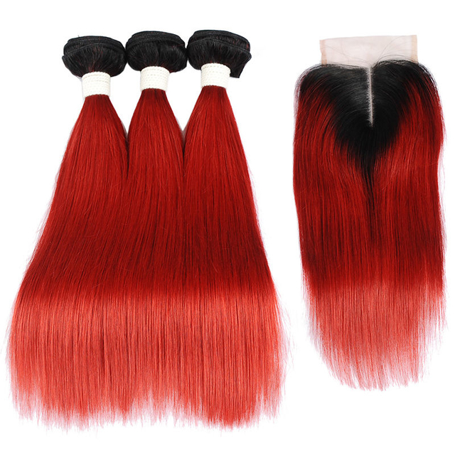 Vvwig Smooth Touch #1 Red Ombre Hair Straight Virgin Human Hair 3 Bundles With Closure Soft And Easy To Style