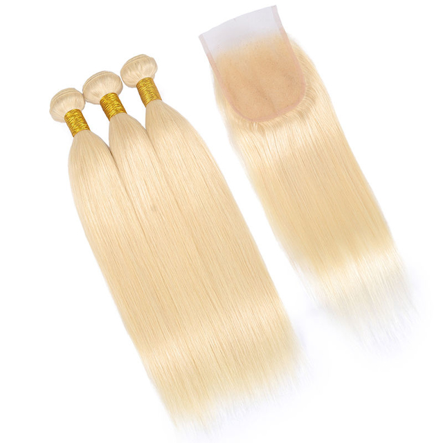 Vvwig 100 Unprocessed Hair 10A Grade Premium 613 Straight Hair Human Hair 3 Bundles With Closure 4*4 Inch Lace