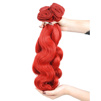 Vvwig Fashion Red Hair Body Wave Soft Smooth Human Hair Good Feeling 3 Bundles With Closure