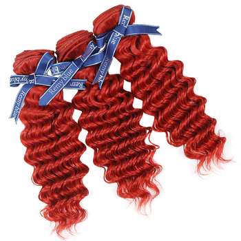 Vvwig 100 Unprocessed Hair 10A Grade Indian Red Hair 3 Bundles With Deep Curly Hair Closure No Chemical No Smell
