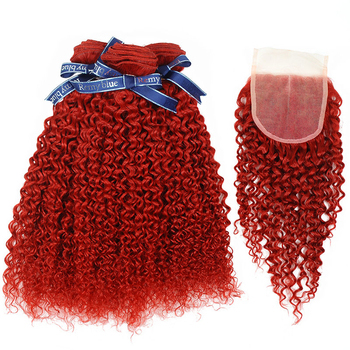 Vvwig Fashion Soft Smooth Premium Red Hair Jerry Curly Virgin Human Hair 3 Bundles With Closure