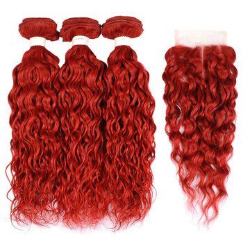 Vvwig No Tangle Soft Smooth Premium Virgin Hair Red Hair Indian Water Wave Hair 3 Bundles With Closure
