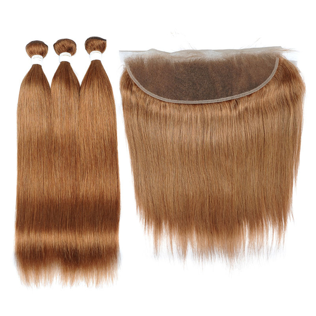 Vvwig Good Feeling 30 Straight Hair Brazilian Human Hair 3 Bundles With Frontal 13*4 Inch Lace No Shed No Oiled
