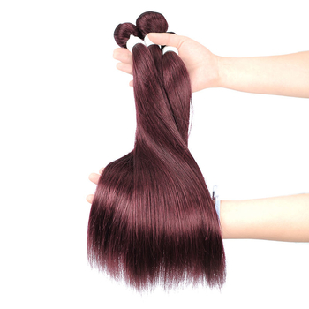 Vvwig Unprocessed Hair 99J Hair Color Super Soft Straight Human Hair 3 Bundles With Frontal Good Feeling