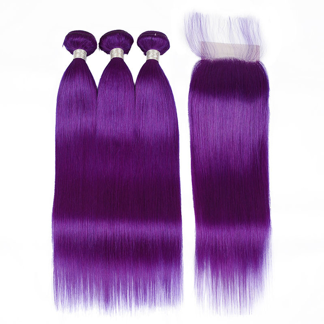 Vvwig Breathable Healthy Purple Color Straight Hair Indian 3 Bundles With Closure 100 Unprocessed Hair 10A Grade
