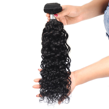 Vvwig Natural Looking Natural Black Water Wave Hair Good Feeling Indian Human Hair 3 Bundles With Closure