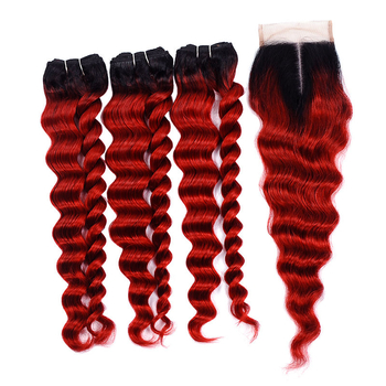 Vvwig Premium 1B Red Ombre Hair 3 Bundles With Closure Indian Loose Deep Wave Hair Good Feeling Unprocessed Hair