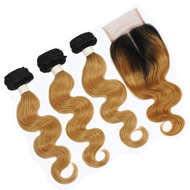 Vvwig Hair 1B 27 Ombre Hair Natural Looking Body Wave 3 Bundles With Closure 4*4 Inch Lace Good Feeling No Chemical