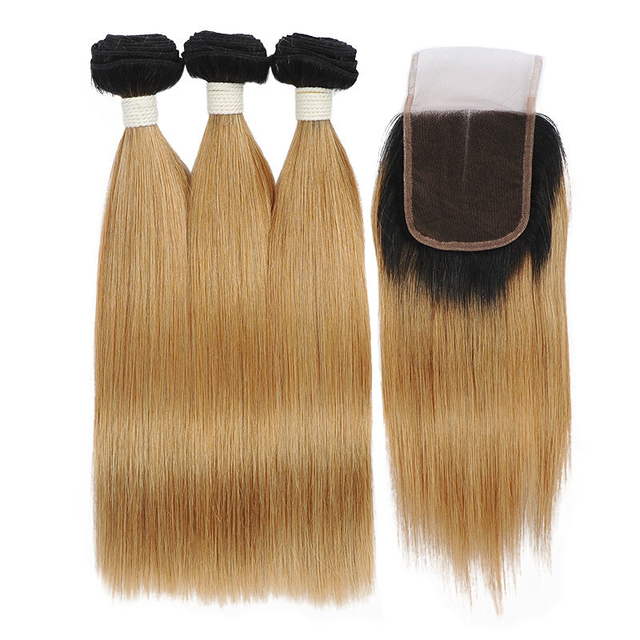 Vvwig 1B 27 Ombre Hair Natural Looking Brazilian Unprocessed Hair 10A Grade Straight Hair 3 Bundles With Closure