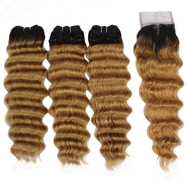Vvwig Shiny 1B 27 Ombre Hair Loose Deep Wave Smooth Touch Virgin Hair 3 Bundles With Closure No Smell