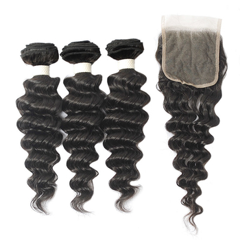 Vvwig Breathable Natural Hair Colors Deep Wave Hair 3 Bundles With Closure Brazilian 100 Unprocessed Hair 10A Grade