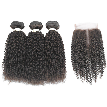 Vvwig #2 Premium Peruvian Hair Jerry Curly Hair Human Hair Extensions Soft Smooth 3 Bundles With Closure