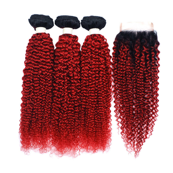Vvwig 1B Red Ombre Hair Indian Jerry Curly Weave Hair Good Feeling 3 Bundles With Closure Unprocessed Hair