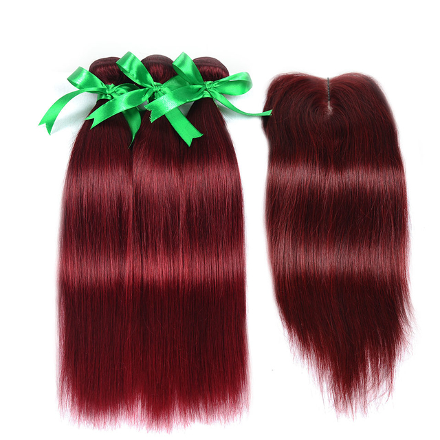 Vvwig Brazilian Hair #99J Hair Color Straight Soft Smooth Human Hair 3 Bundles With Closure True To Length