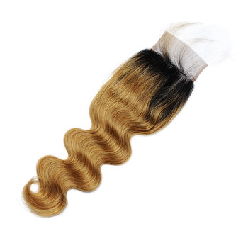 Vvwig 1B 27 Ombre Hair Body Wave Human Hair 4 Bundles With Closure 4 * 4 Lace True To Length Soft And Easy To Style