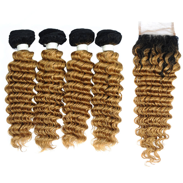 Vvwig Natural Looking 1B 27 Ombre Hair 4 Bundles With Closure Deep Wave Hair Premium Indian Human Hair