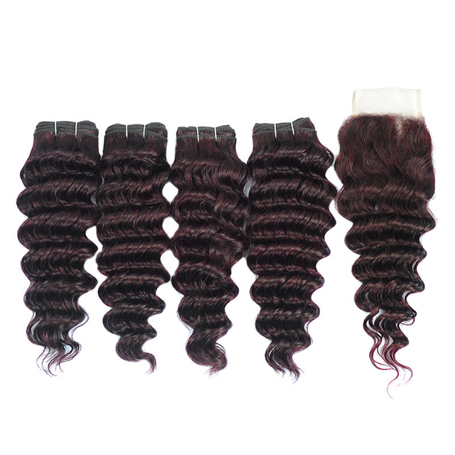 Vvwig 1B Grape Purple Ombre Color Indian Human Hair Deep Wave Hair 4 Bundles With Closure Good Feeling Tangle Free