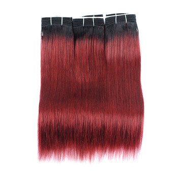 Vvwig 1B 99J Ombre Hair No Shed Straight Bundles Human Hair True To Length Indian Virgin Hair 3 Bundles