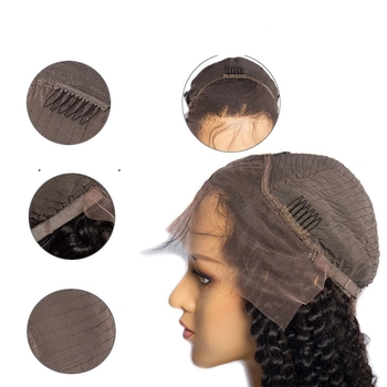 Vvwig Malaysian Hair Kinky Curly Wigs Natural Hair Colors Full Lace Wigs 150 Density With Hand tied Lace