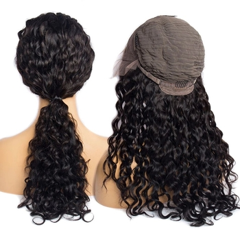 Vvwig Natural Black Brazilian Hair Water Wave Wigs 100% Human Hair 13x4 Lace Wig With Natural Baby Hair