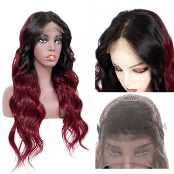 Vvwig 1B 99J Ombre Color Virgin Hair Body Wave Wigs 150% Density Soft Long Human Hair Lace Front Wigs