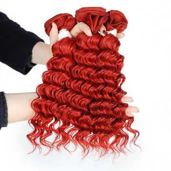 Vvwig Red Hair Deep Wave Bundles Full And Thick Indian Human Hair Healthy Bouncy 3 Bundles