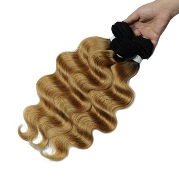 Vvwig 1B 27 Ombre Color Body Wave Hair 4 Bundles With Closure 4 * 4 Lace Virgin Hair Soft And Easy To Style