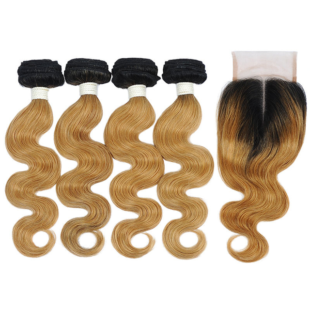 Vvwig Premium Natural Looking 1B 27 Ombre Hair 4 Bundles With Body Wave Closure No Smell Or Shedding