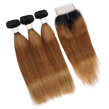 Vvwig Virgin Hair 1B 30 Ombre Color Healthy Hair End 3 Bundles With Straight Hair Closure No Lice Or Knit