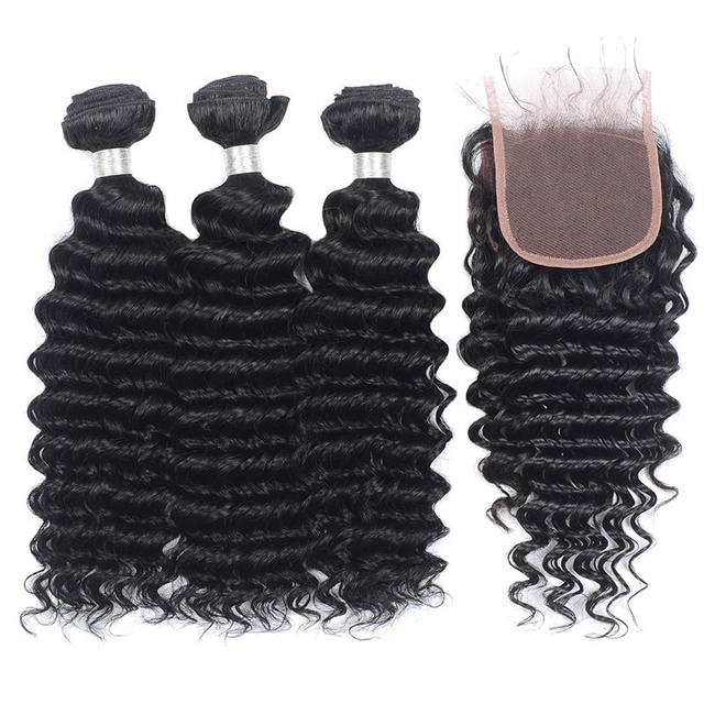Vvwig Natural Looking Natural Black Deep Wave Hair Soft Smooth Human Hair 3 Bundles With Closure