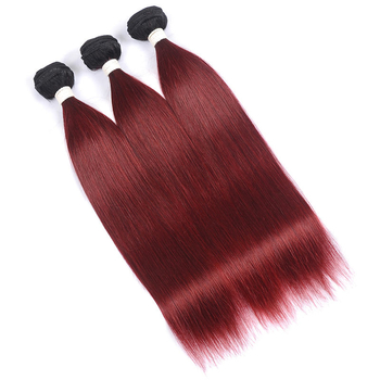 Vvwig 1B 99J Ombre Color Straight Bundles Glossy And Clean Indian Weave Hair 3 Bundles No Lice / Knit
