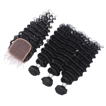 Vvwig Natural Hair Colors Remy Hair Reinforced Machine Double Weft 3 Bundles With Closure Deep Wave Hair Full And Thick