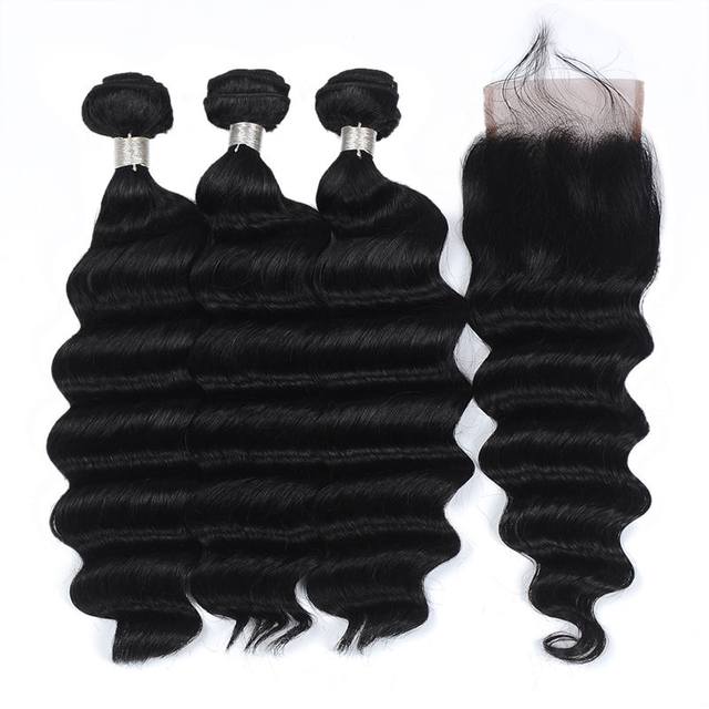 Vvwig Natural Hair Colors Loose Deep Wave Human Hair Weave 3 Bundles With Closure No Chemical No Oiled