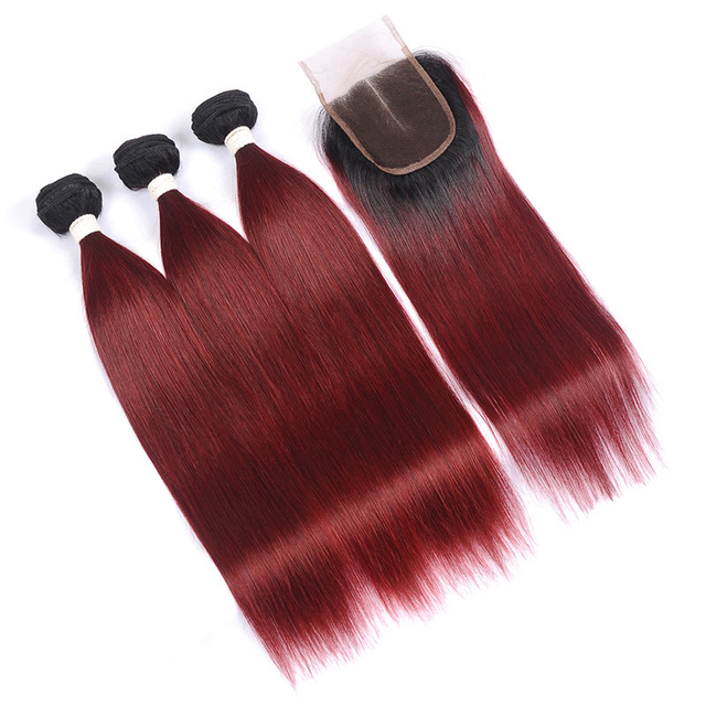 Vvwig Tangle Free 1B 99J Ombre Straight Hair Extensions Comfortable Indian Human Hair 3 Bundles With Closure
