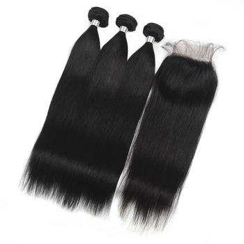 Vvwig Natural Hair Colors Indian Body Wave / Straight Hair 3 Bundles With Closure Tangle and Shedding Free